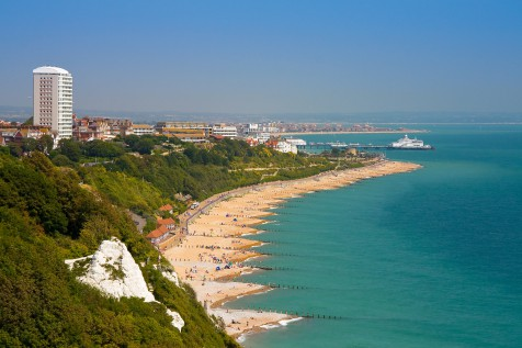 Eastbourne from the cliffs of Beachy Head, East Sussex, UK.