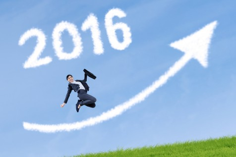 Worker leaps with numbers 2016 and upward arrow